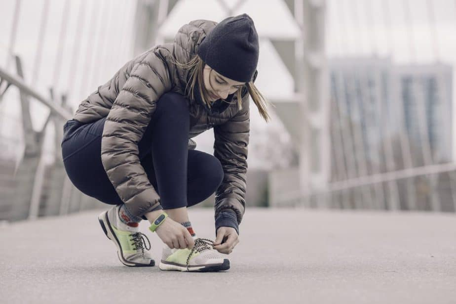woman, tying shoes, sneakers, fitness, bridge, cold, running shoes