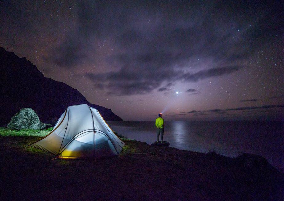tent, lights, night