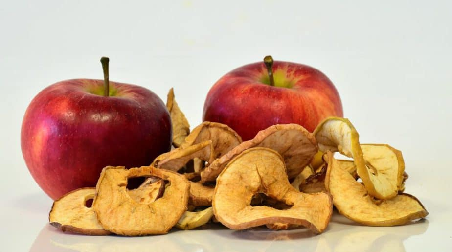 apples, a healthy snack in a gym bag