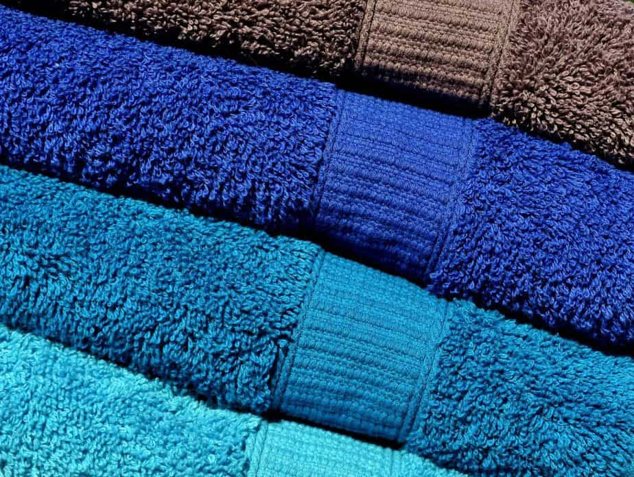 A set of fresh clean blue towels