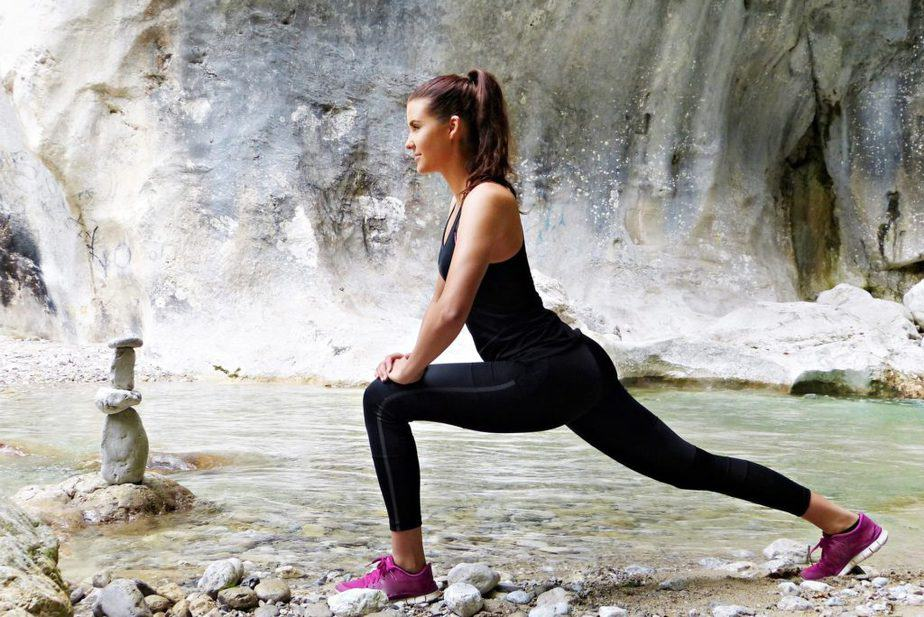 stretching, waterfall, fitness