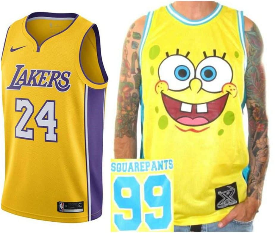 basketball jersey lakers yellow sponge bob squarepants funny