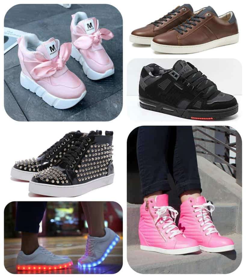fashionable sneakers fashion statement wedge heel platform ribbon spikes spiked rivet luminous adults shoes leather elegant skate skater globe