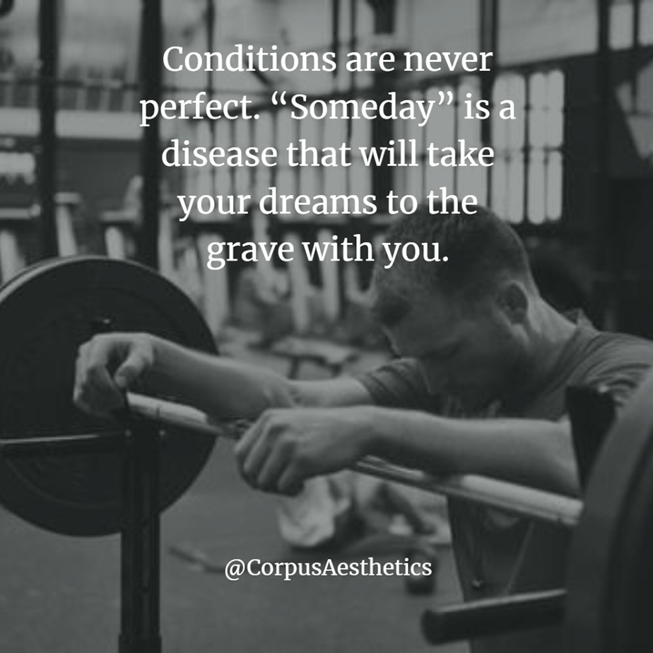 gym inspirational quotes, Conditions are never perfect, a guy is in the gym, and he is taking a brake
