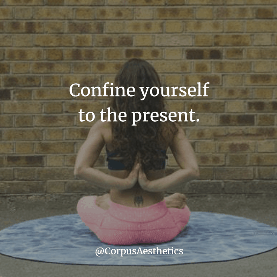 yoga motivational quotes, Confine yourself to the present, a girl is sitting lotus position