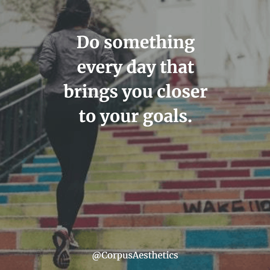 running motivational quotes, Do something every day that brings you closer to your goals, a girl is running up the stairs