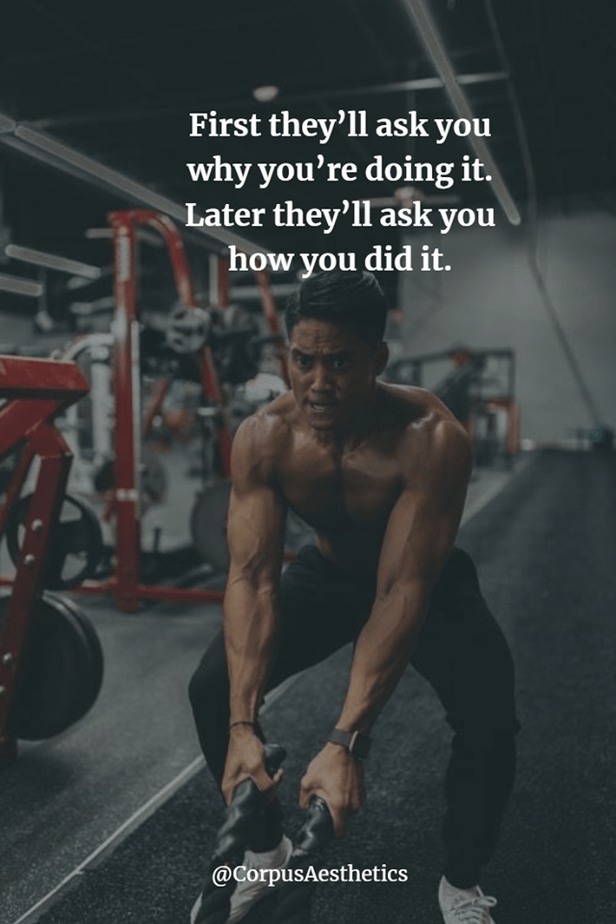 gymspirational quotes, first they'll ask you why you're doing it, a guy is in the gym, and he's training with the ropes.