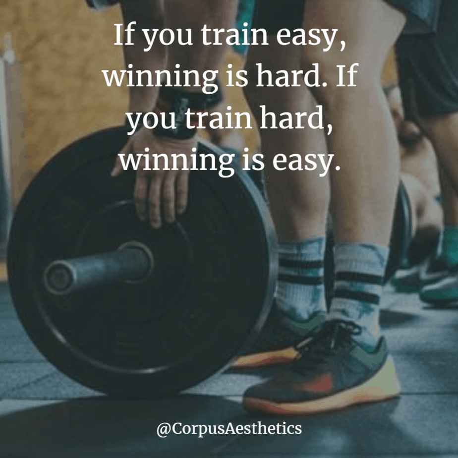 weight lifting inspiration, If you train easy, winning is hard, a guy in the gym has a training with the weights