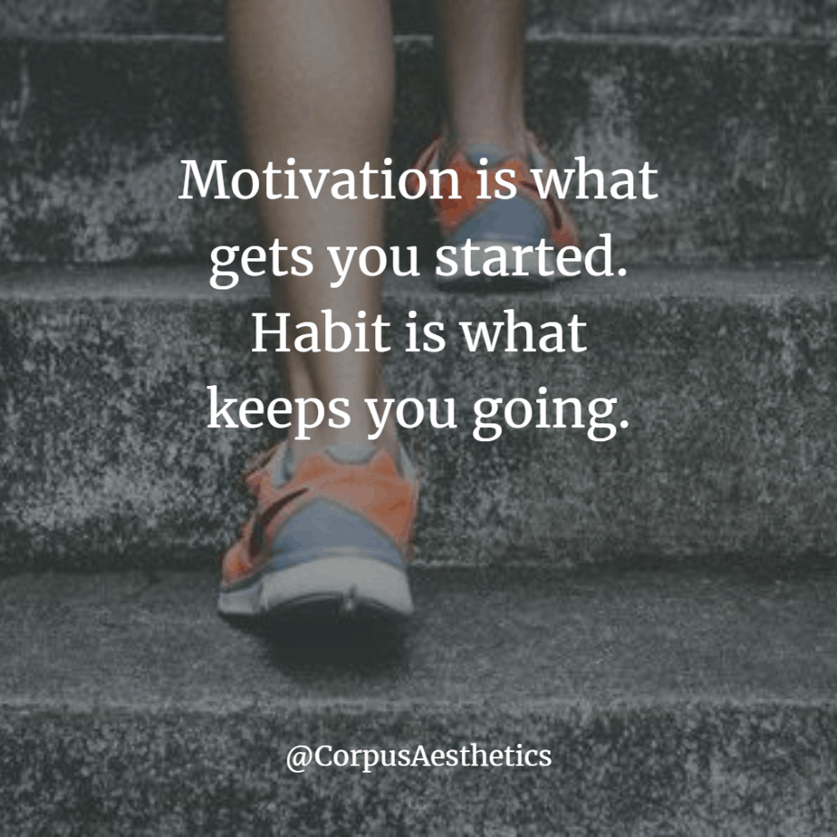 jogging inspirational quotes, motivation is what gets you started, a girl starts training with running on the stairs
