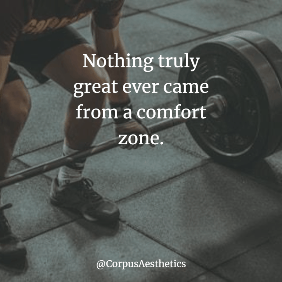 gym motivational quote, Nothing truly great ever came from a comfort zone, a guy is preparing for weightlifting in the gym