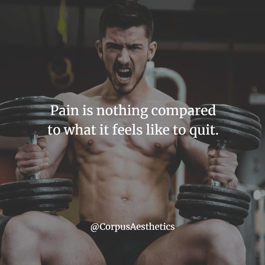 workout inspirational quotes, Pain is nothing compared to what it feels like to quit, a guy has a training with the weights