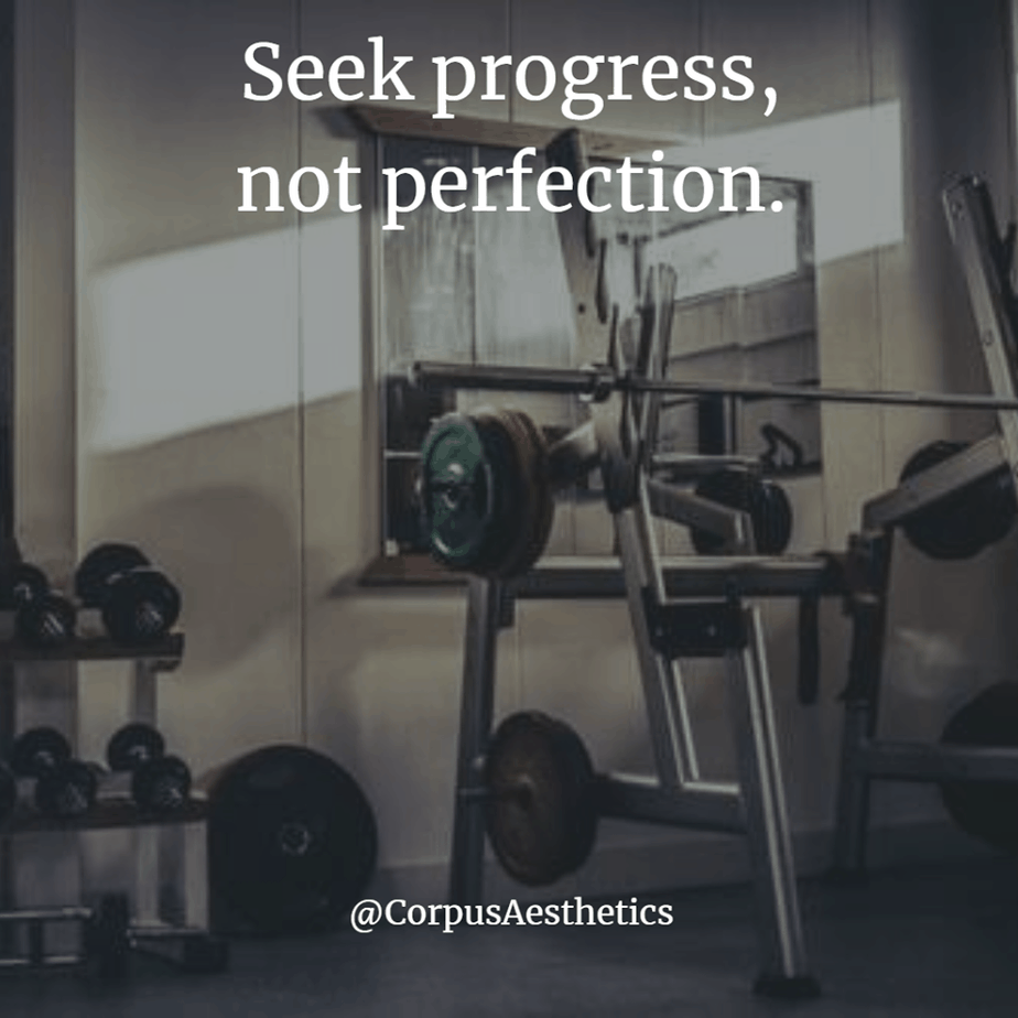 gym inspirational quotes, Seek progress, not perfection, there are many sizes of weights in this gym.
