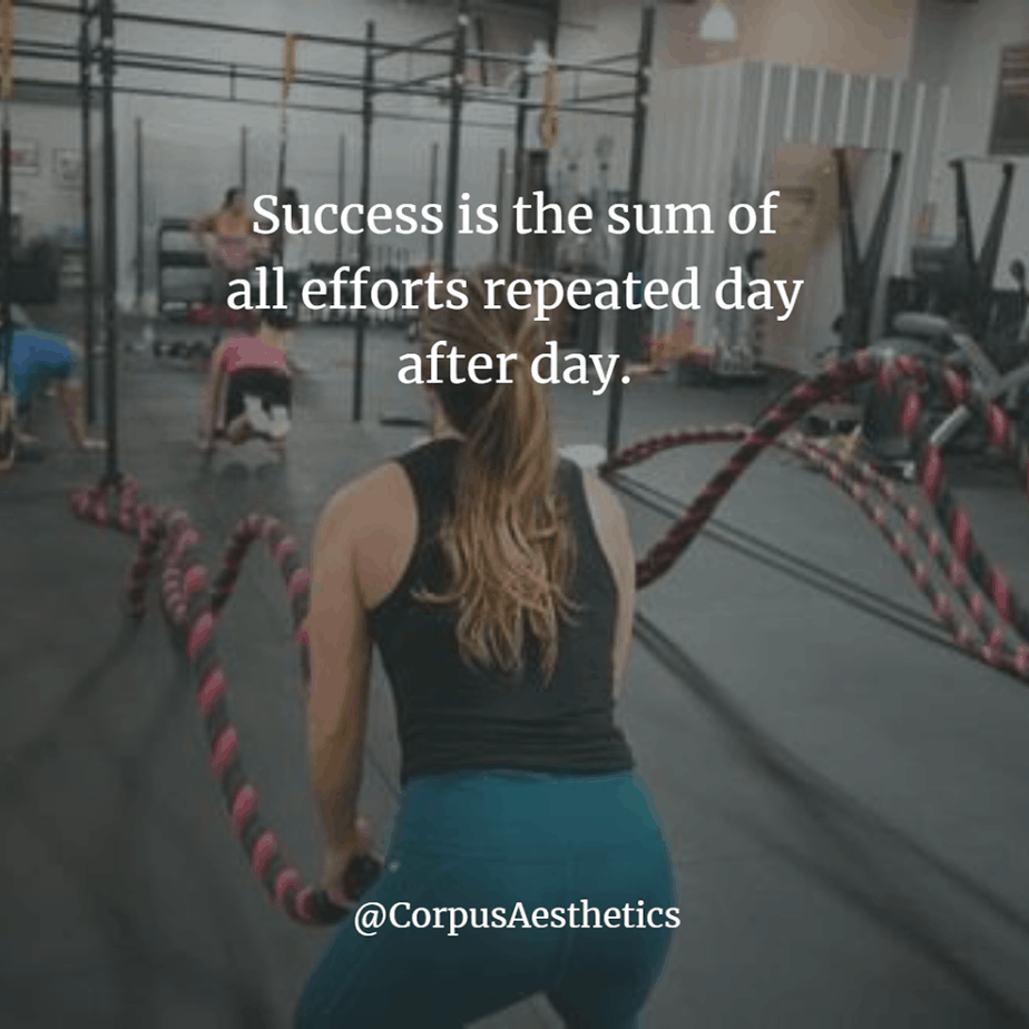 fitspiration quote, Success is the sum of all efforts repeated day after day, a girl has a training with battle ropes