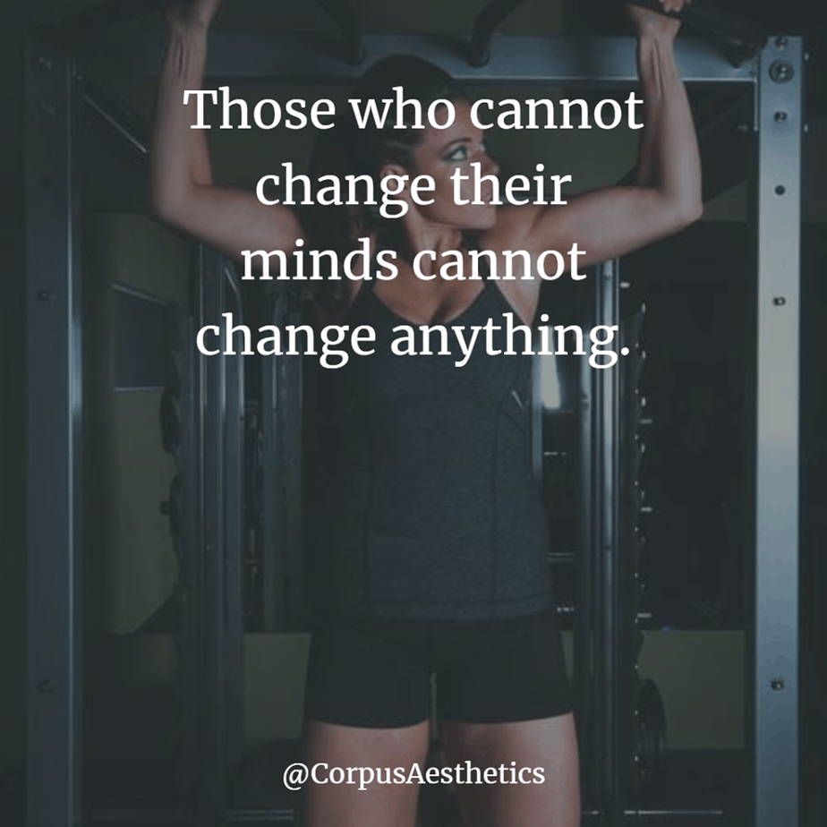 training motivation, Those who cannot change their minds cannot change anything, girl at the gym lifting weights