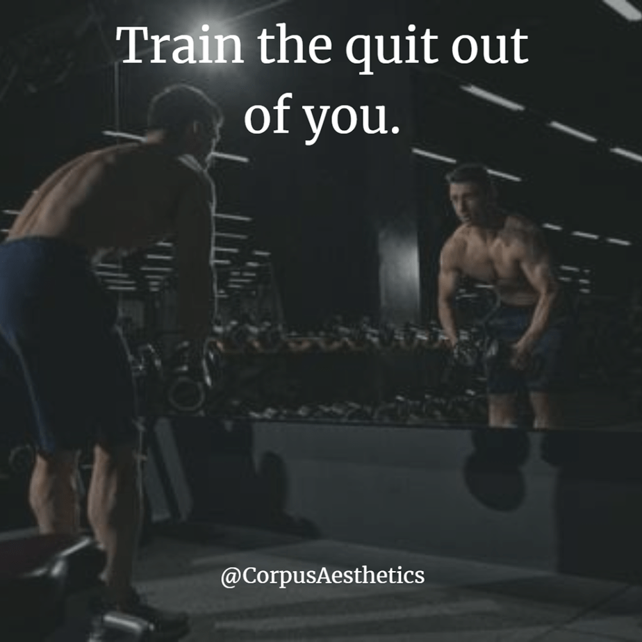 gym rat motivational quotes, Train the quit out of you, a bodybuilder is in the gym, an he is weightlifting