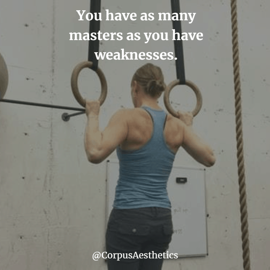 gymspiration, You have as many masters as you have weaknesses, fitness girl doing pull ups with hoops at the gym