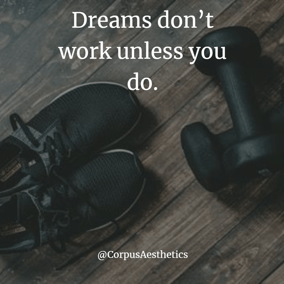 fitness motivational quotes. dreams don't work unless you do. gym equipment, sports shoes and two dumbbells