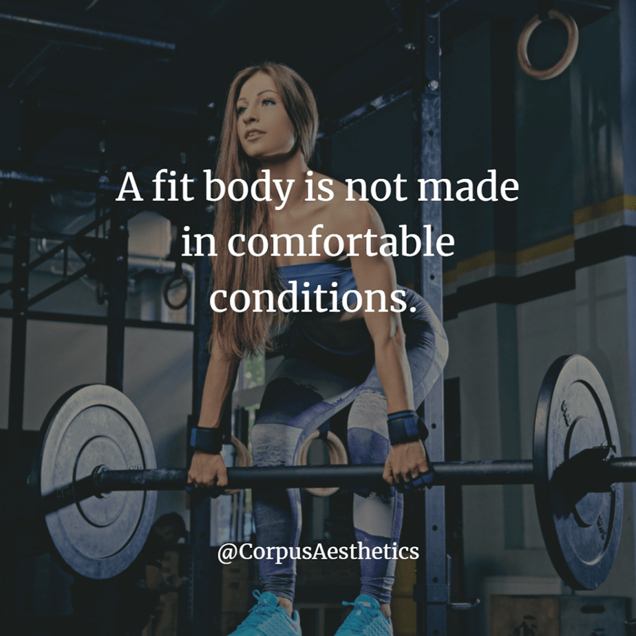 fitness inspiration, A fit body is not made in comfortable conditions, a girl has a training with weights in the gym