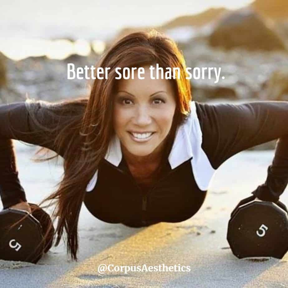 fitness motivational quotes, Better sore than sorry. a girl has a training with push-ups on weights