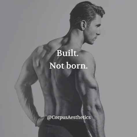 gym motivational quote, Built. Not born, a strong guy has a good looking biceps and triceps