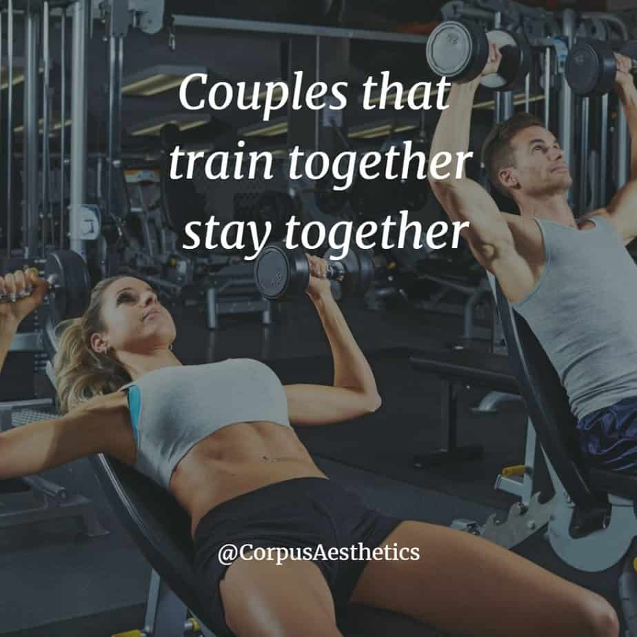gym inspirational quotes, Couples that train together stay together, young couple has a training in the gym