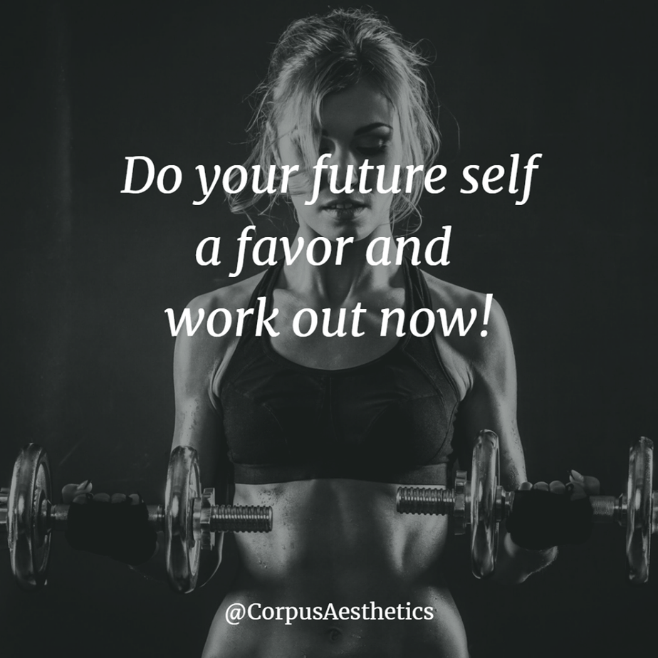 fitness motivational quotes, Do your future self a favor and work out now, a girl has a weightlifting training at the gym