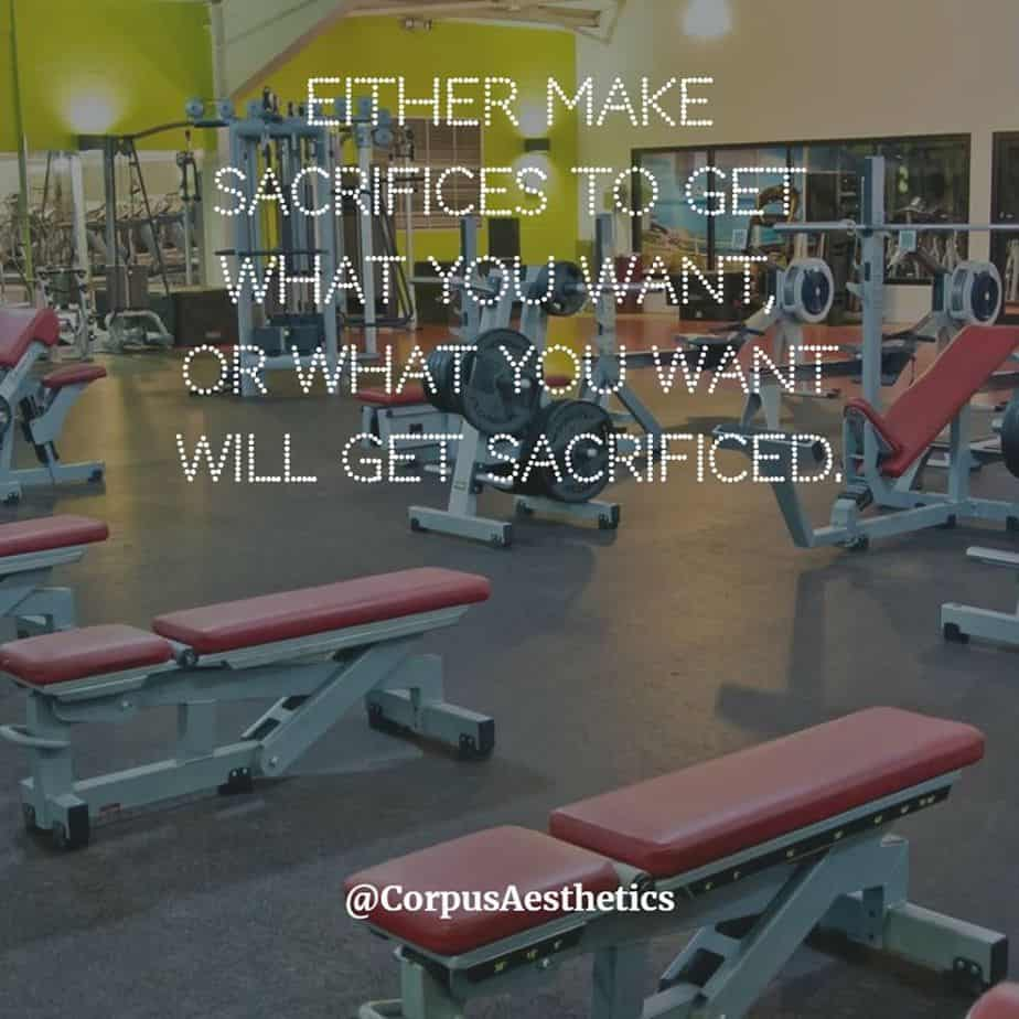 gym inspirational quotes, make sacrifices to get what you want, there is different kinds of gadgets at the gym