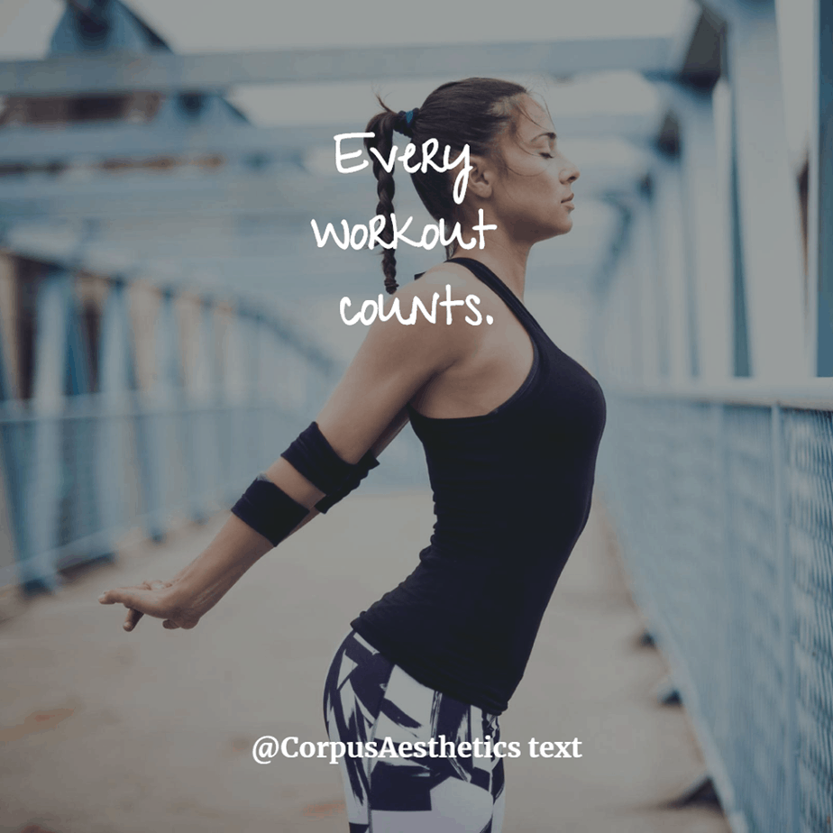 fitness motivational quotes, Every workout counts, a girl starts training with stretching outside
