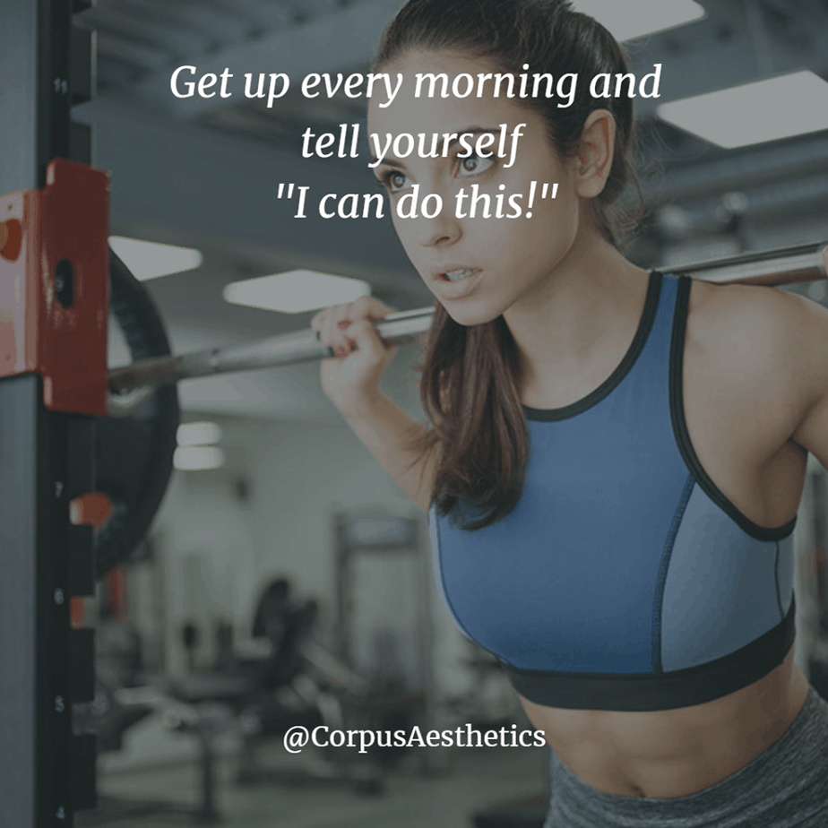 "fitness motivational quotes, Get up every morning and tell yourself ""I can do this!"", a girl has a weightlifting training"