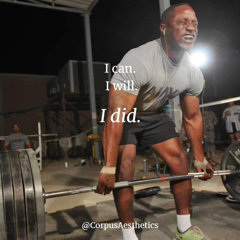 weight lifting motivational quotes, I can. I will I did, a guy has a weightlifting training at the gym