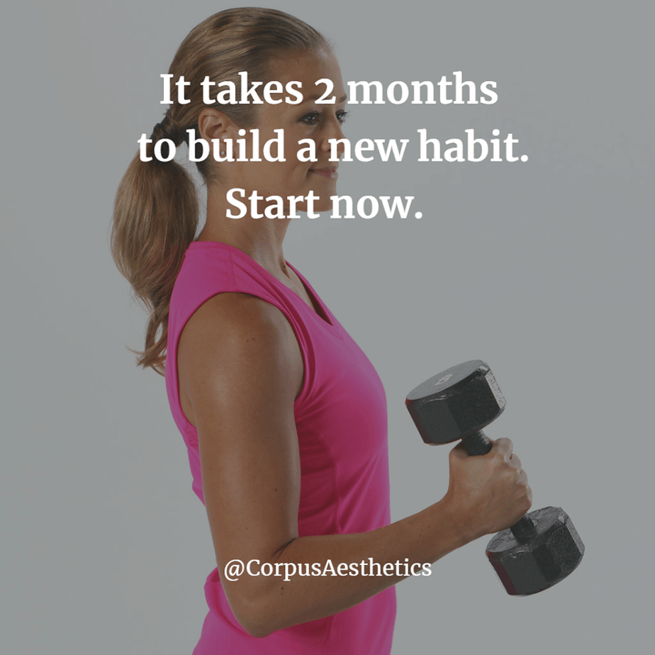 fitspirational quotes, It takes 2 months to build a new habit. Start now, a fit girl has a workout with weights