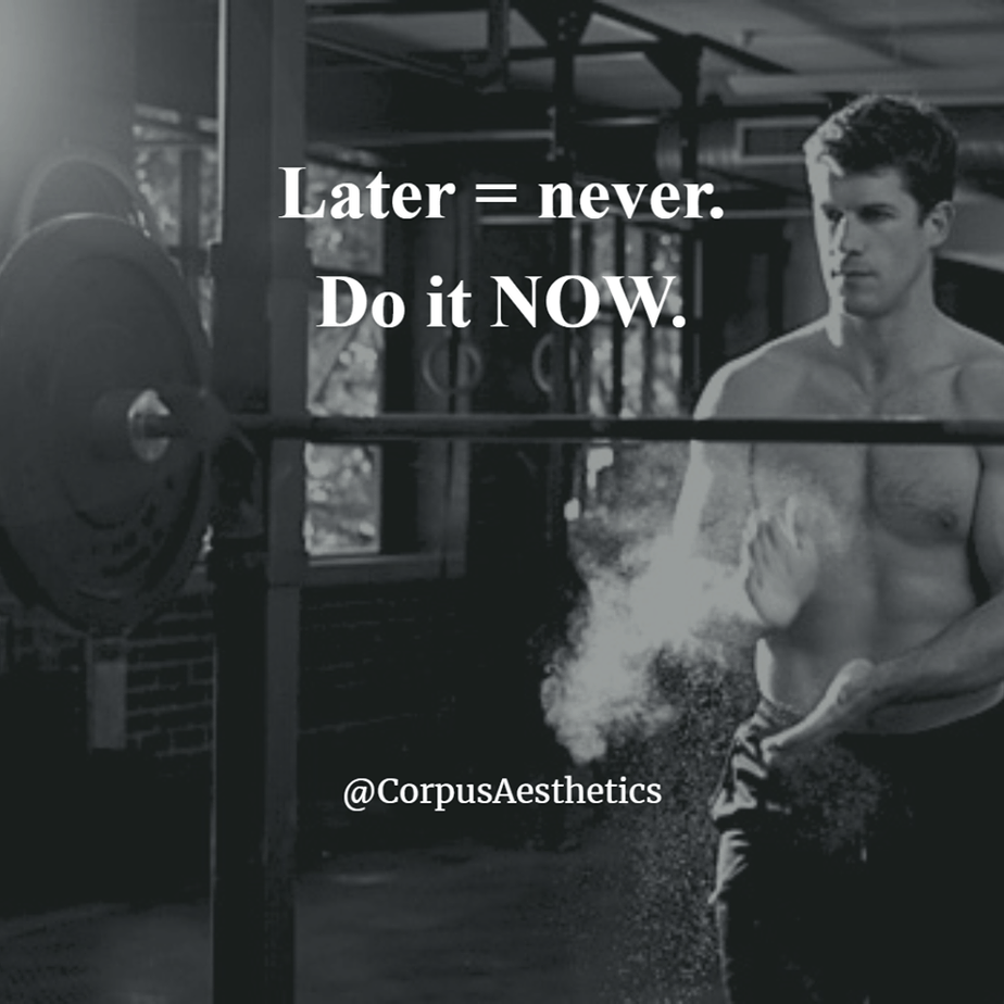 weight lifting motivational quotes, Later = never. Do it NOW, a guy in the gym preparing for weightlifting