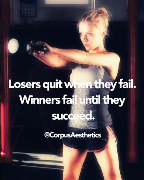 fitness inspirational quotes, Losers quit when they fail. Winners fail until they succeed,a girl has training in the gym