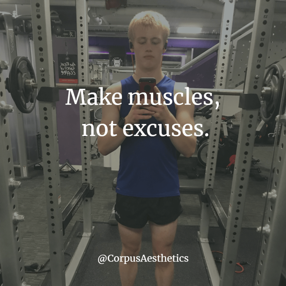 gym motivational poster, Make muscles, not excuses, a young guy taking a selfie after training at the gym