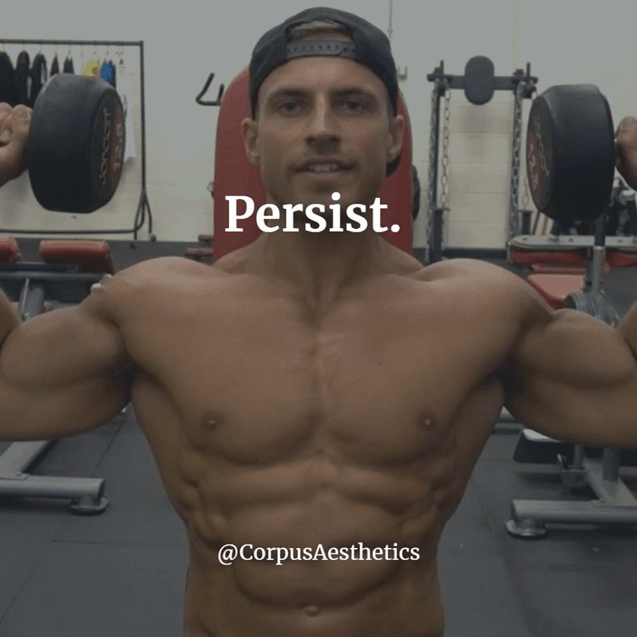 weight lifting inspirational quotes, Persist, a muscle guy in the gym has a weight lifting training