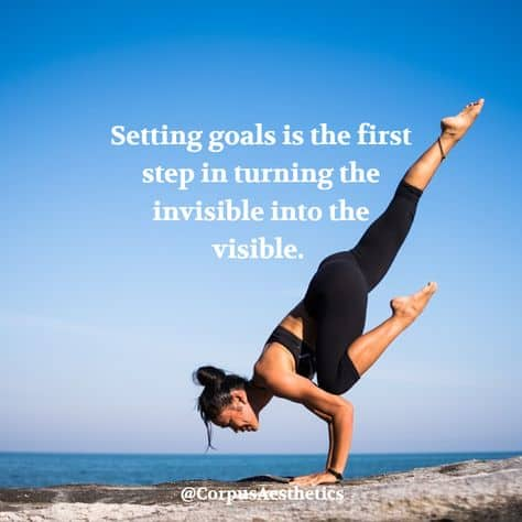 daily motivational quote, Setting goals is the first step, a girl has a training with armstand on the beach