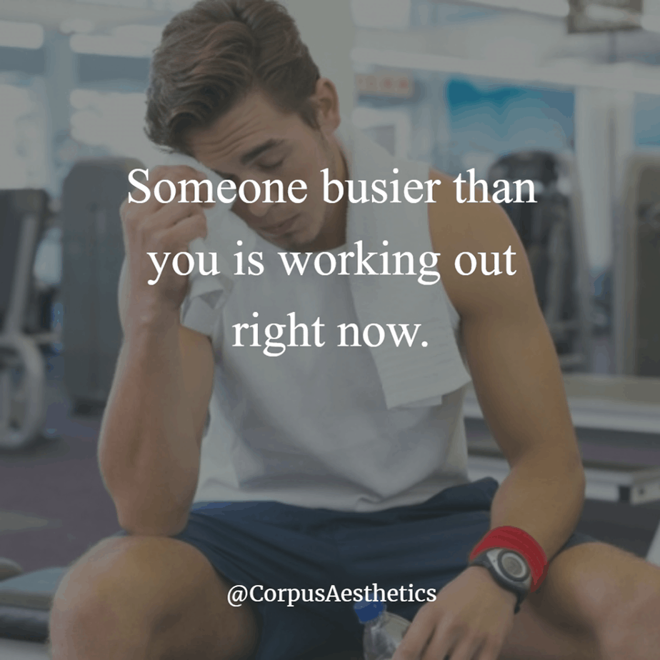 gymspirational quote,Someone busier than you is working out right now, a guy is wiping sweat after training
