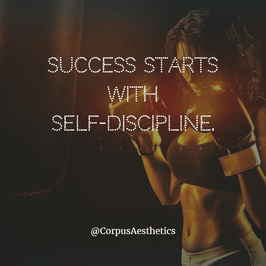 fitspirational quotes, Success starts with self-discipline, a girl has a training with a punching bag at the gym