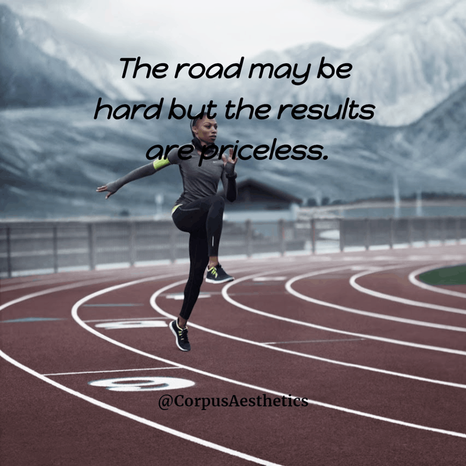 running inspirational quotes,The road may be hard but the results are priceless, a girl has a training on jogging track