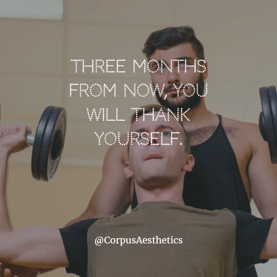 gym motivation, Three months from now, you will thank yourself, a guy has a weightlifting training with his personal trainer