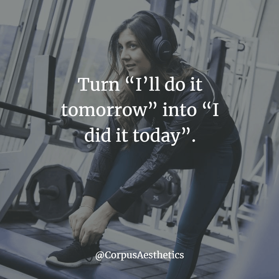 "fitspirational quotes, Turn ""I'll do it tomorrow"" into ""I did it today"", a girl is preparing for a training in the gym"