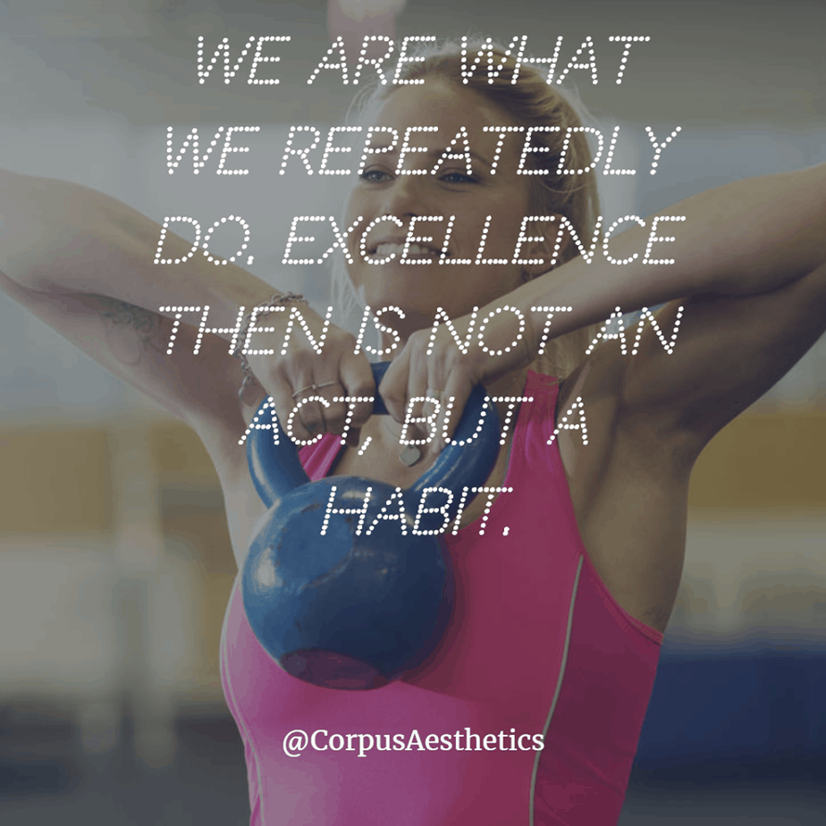 fitspirational quotes, We are what we repeatedly do, a girl has a weightlifting training at the gym