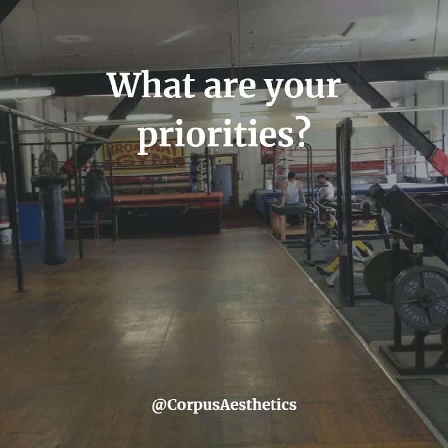 gym motivational quotes, What are your priorities?, there is a gym with a different workout gadgets