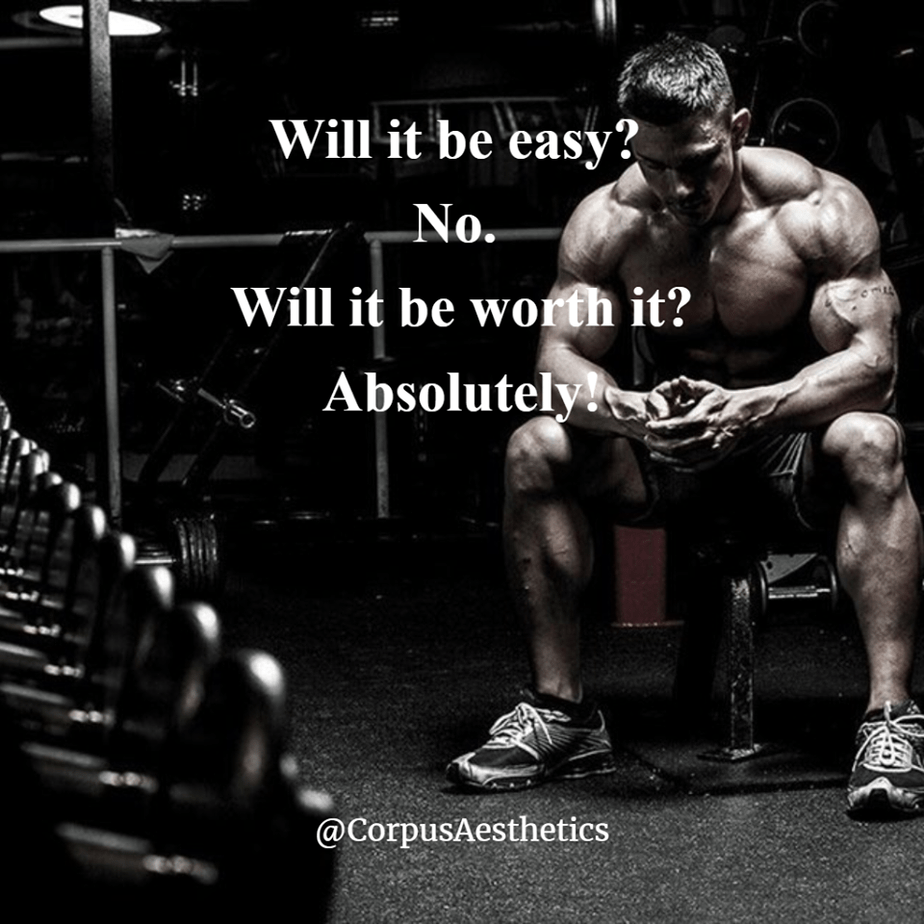 gym motivational quotes, Will it be easy? No. Will it be worth it? Absolutely, a guy has a brake after weight training