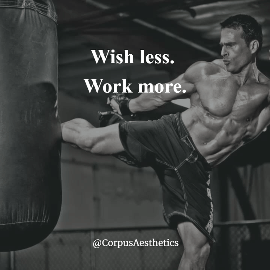 gym motivational quotes, Wish less. Work more, a guy is kicking a punching bag in the gym with leg