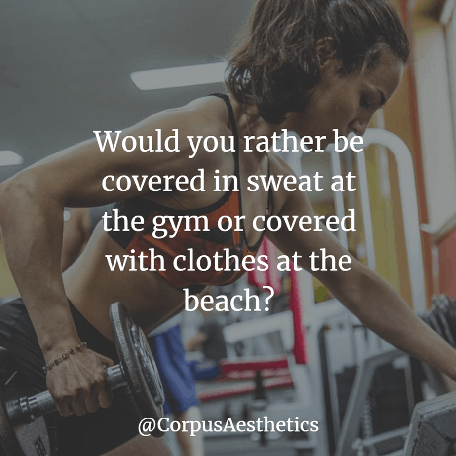 fitness inspiration . Would you rather be covered in sweat at the gym or covered with clothes at the beach, a girl in the gym