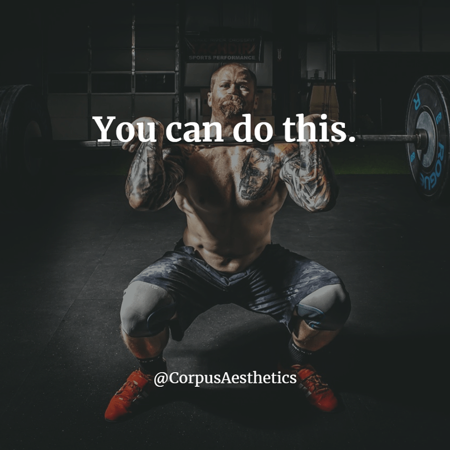 weight lifting motivational quotes, You can do this, a guy in the gym has a workout with weights