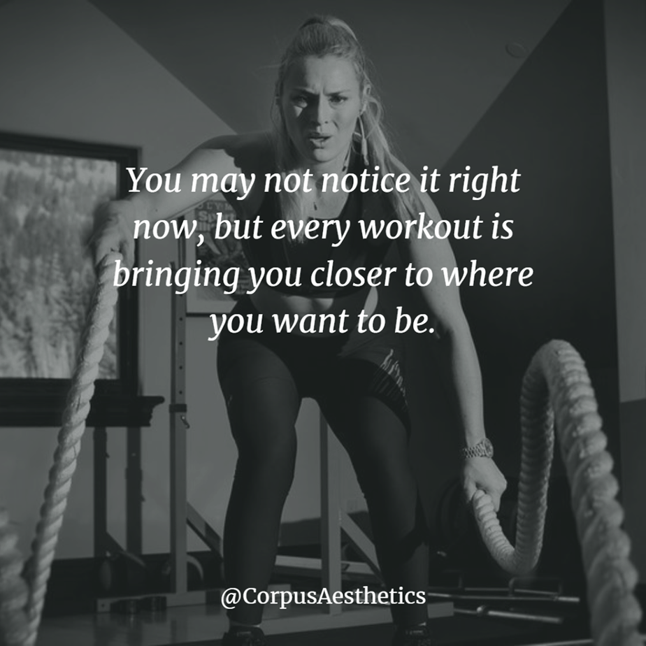 fitness motivational quotes, You may not notice it right now, a girl has a training with battle ropes at the gym