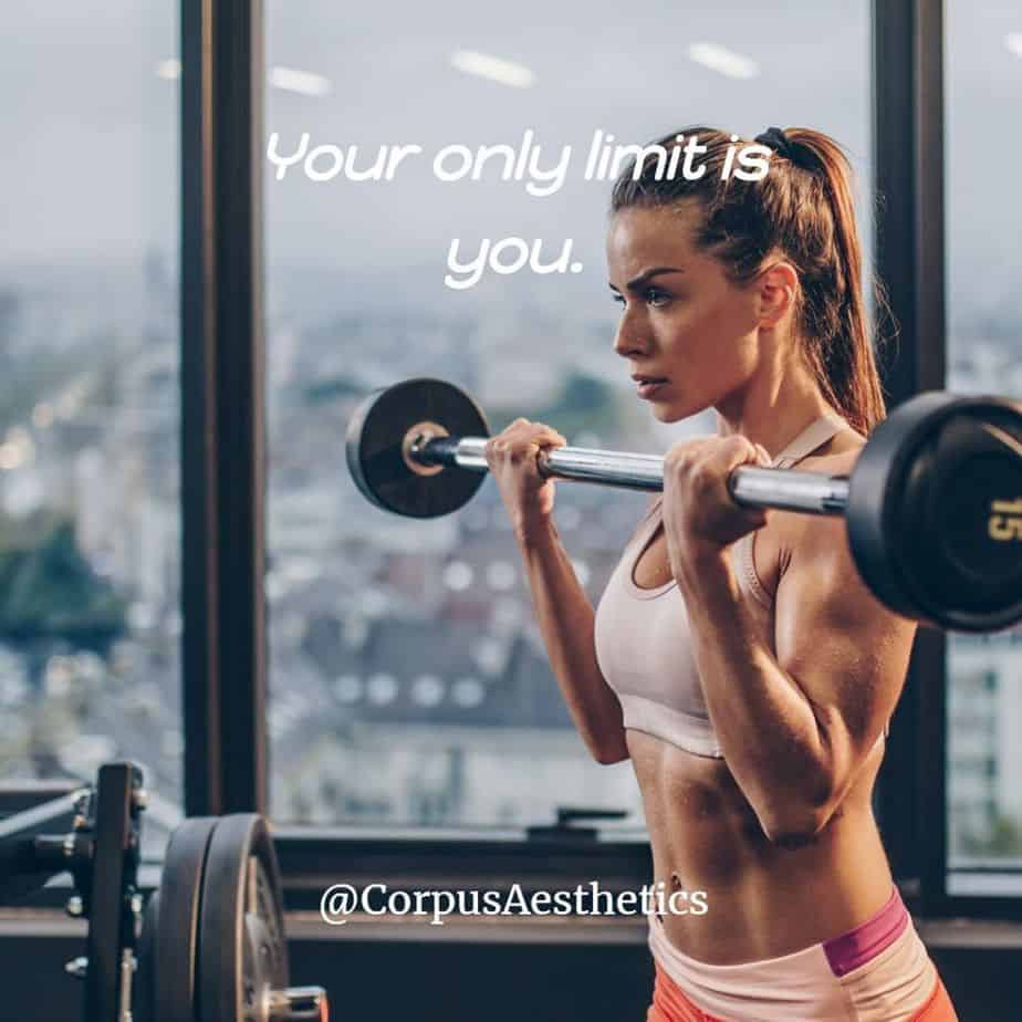 fitspirational quotes, Your only limit is you, a girl has a weightlifting training at the gym