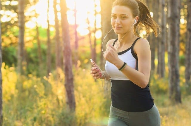 a fitness girl jogging outdoors